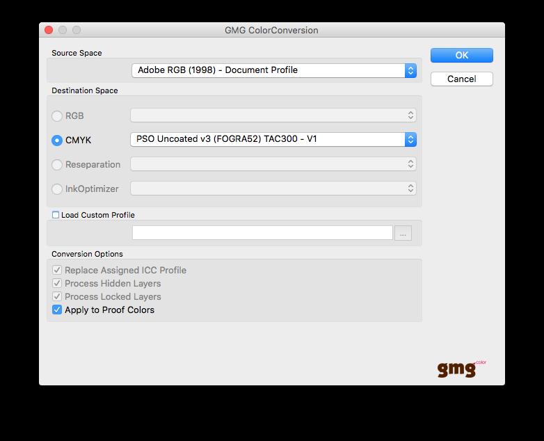 Fenêtre de conversion de profils
